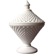 Milk Glass English Hobnail Diamond-Cut Covered Bowl