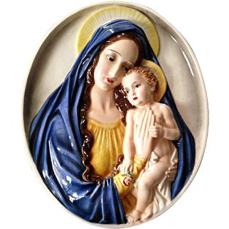 Mary and Child Jesus Porcelain Relief from Austria