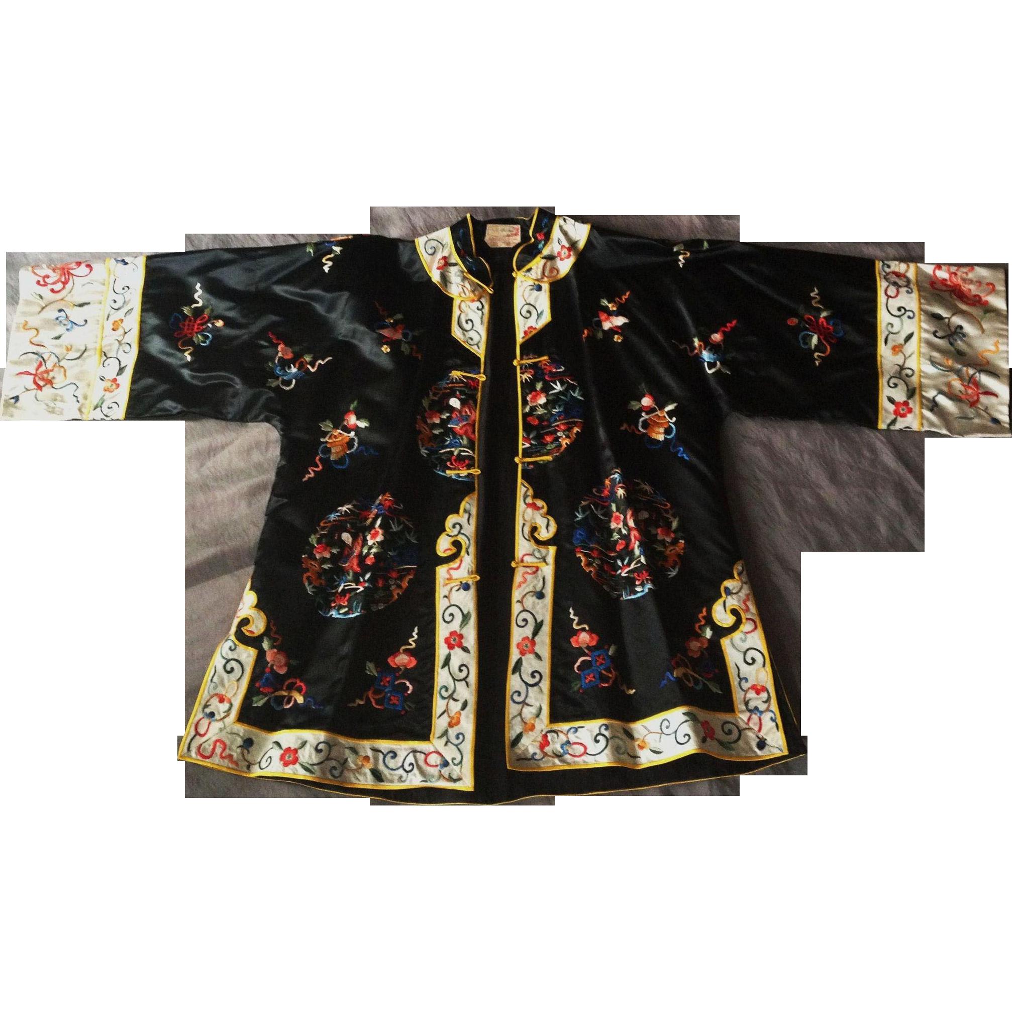 Asian embroidered kimono jacket from manderlyestates on