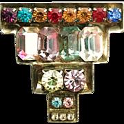 Multi-Color Rhinestone Brooch