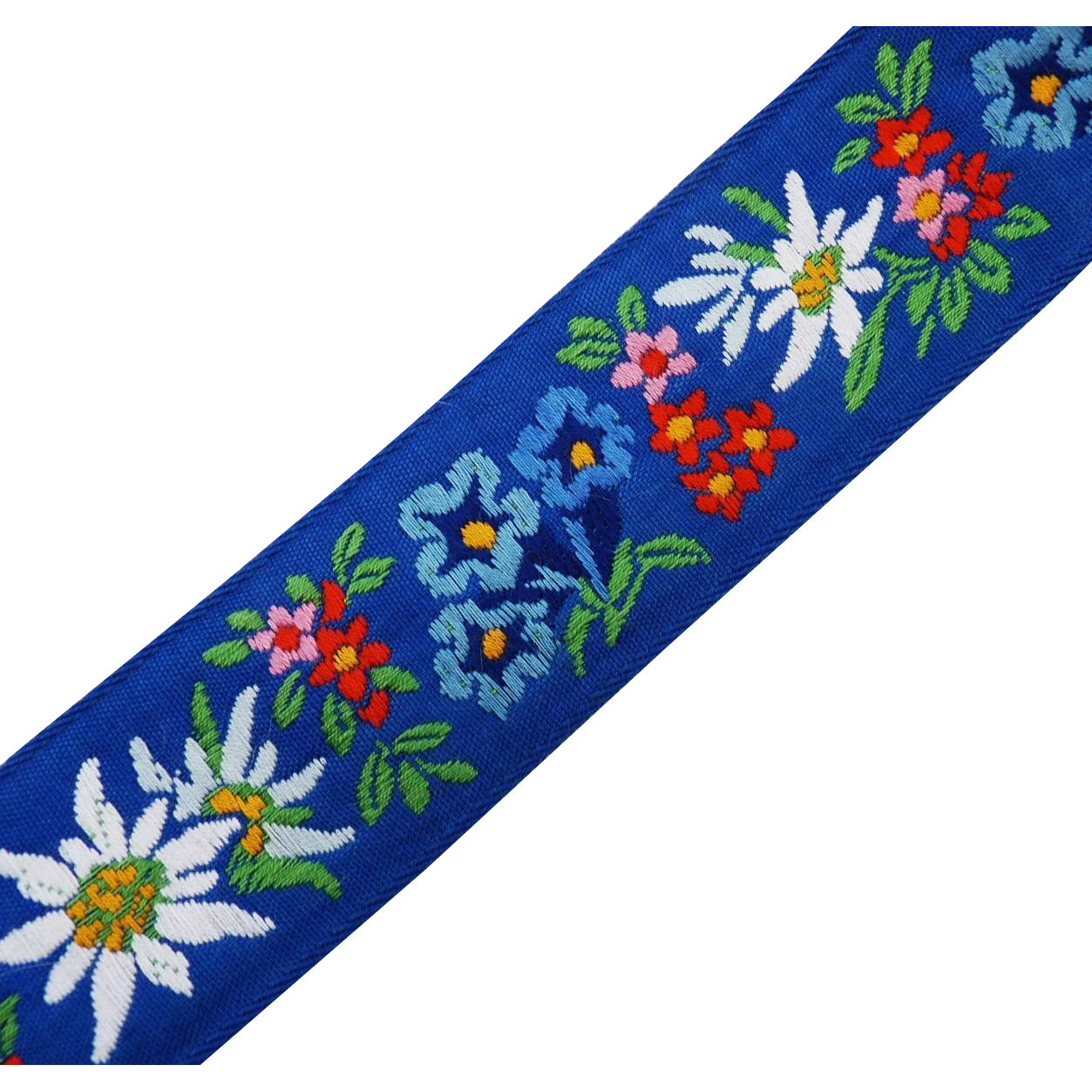 Vintage embroidered floral ribbon trim from