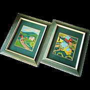 Pair of Vintage Folk Art Silk Screens by Olah