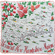 Vermont- New Hampshire- Maine Souvenir Hankie