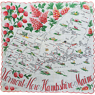 Vermont- New Hampshire- Maine Souvenir Hankie