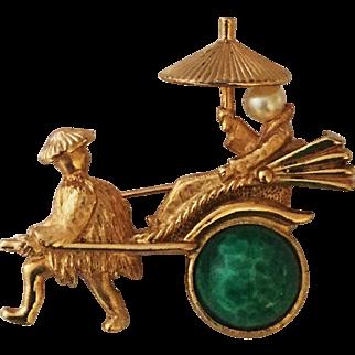 Napier Asian Richshaw Pin/Brooch