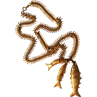 Articulated Fish Necklace by Accessocraft N.Y.C.