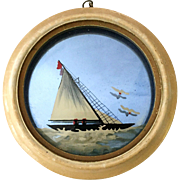 Art Deco Blue Mirror, Reverse Painted Sailboat