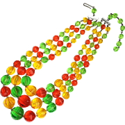Citrus Colored Plastic Beaded Necklace