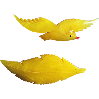 Celluloid Bird and Feather Pins (pair)