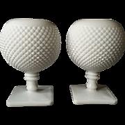 Milk Glass Rose / Blossom Vases, pair