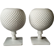 Milk Glass Rose / Blossom Vases, pair