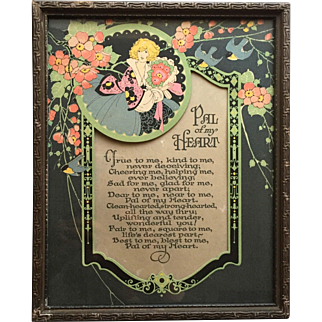 1930's Illustrated Verse Print