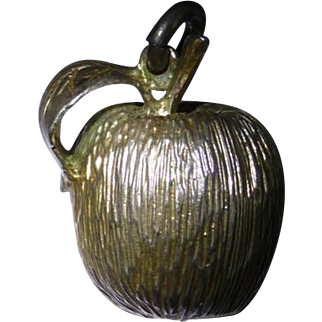 Large Silver Apple Charm
