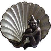 Elf in a Shell Silver Brooch