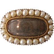 English Gold Mourning Brooch