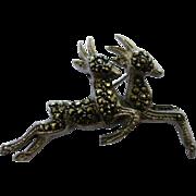 """Real Marcasite & Silver""""Springbok"""" Brooch"""