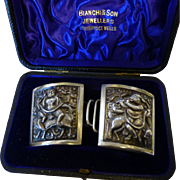 A Pair of  Vintage Silver Indian Chased Buckles in Case.