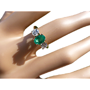 Three Stone Emerald & Diamond classic Ring.