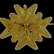 Vintage Filigree Maltese Cross  Fine gold brooch / Pin/ Pendent.