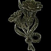 Vintage Silver Marcasite Brooch