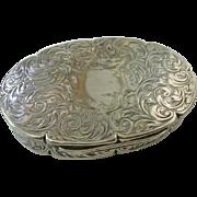 Wonderful Engraved Silver 1846 Snuff / Tobacco Box