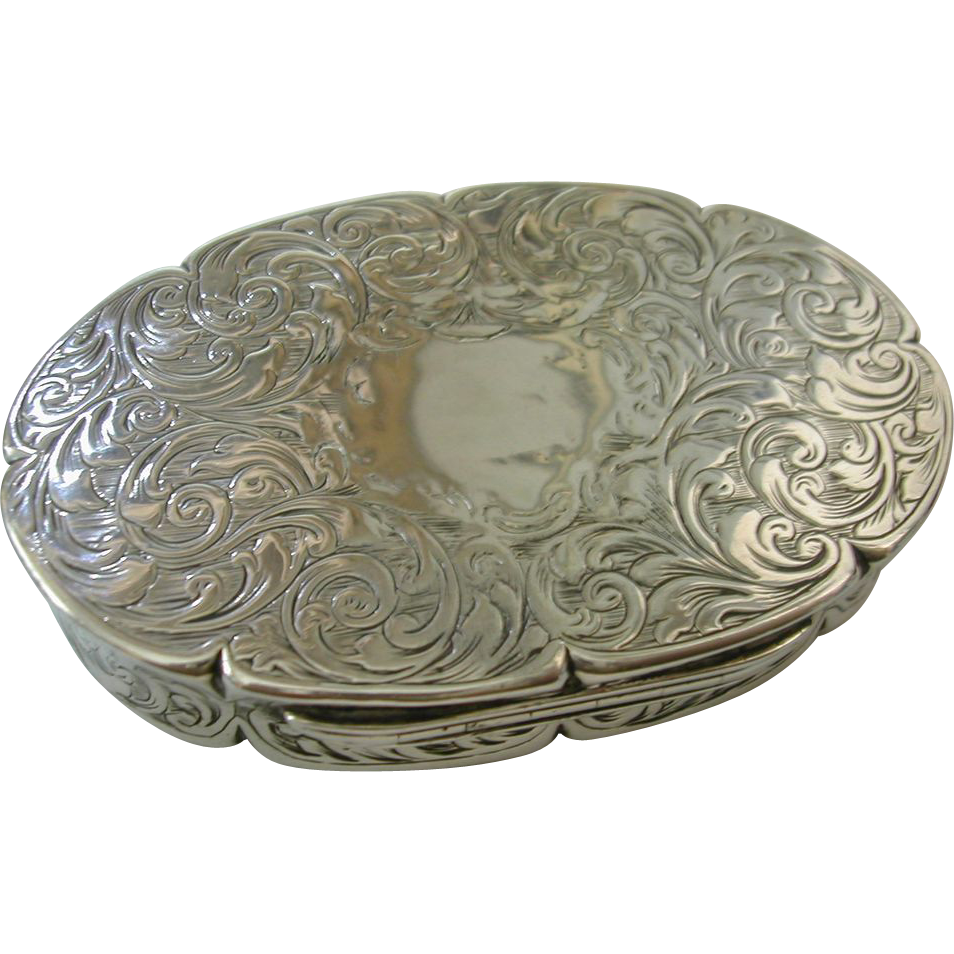Wonderful Engraved Silver 1846 Snuff / Tobacco Box