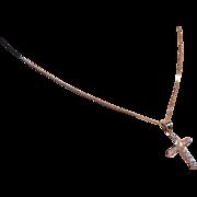 Large Solid Diamond 18k Cross  * * * * *