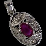 White Gold Ruby & Diamond Pendent
