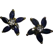 Marquise Shape Sapphire & Diamond Ear Studs