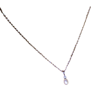 Pear shape Fresh Water Pearl & Diamond Pendent