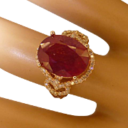 9.68 Carat Natural RUBY & Diamond Ring