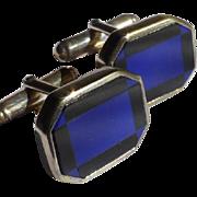 inlaid Blue & Black solid Silver Cuff Links