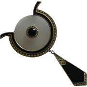 Large Art Deco style solid Silver Brooch