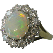 Beautiful  fine OPAL & DIAMOND cluster Ring