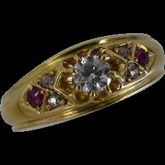 1904 English Hallmarked Diamond & Ruby 18k Ring