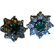 English Emerald & Diamond 14k Ear Studs