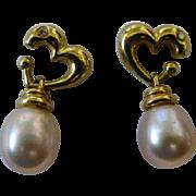 Pearl drop, Diamond & Gold Ear Studs