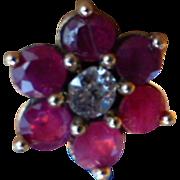 Vintage Ruby & Diamond Cluster 18k Ear Studs
