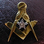 REDUCED ENGLISH 18 carat gold MASONIC Diamond pendent