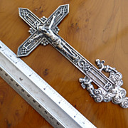 LARGE  Antique Solid SILVER Hallmarked 1898 Crucifix