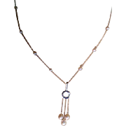 18k White Gold Tinted Pearl & Diamond Necklace