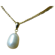 Very Large Fresh Water Pearl Pendent Necklace