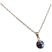 Black Pearl Drop pendent with  yellow Chain