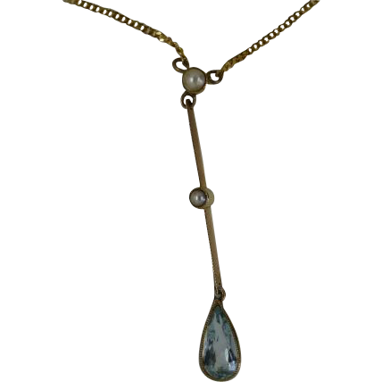 Fine Aquamarine Drop and seed Pearl Gold Pendent