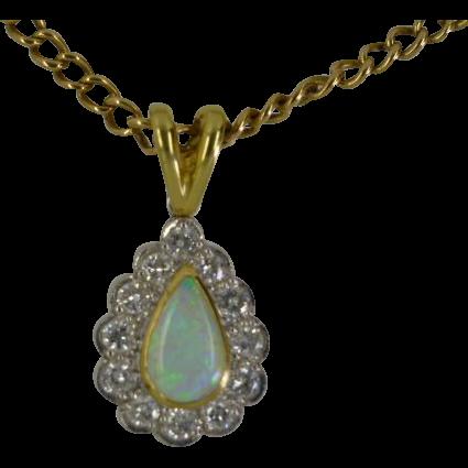 Fine Opal & Diamond Drop Pendent Necklace