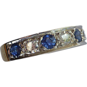 Large Sapphire & Diamond half Eternity Ring