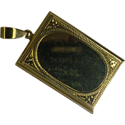 Very Heavy Gold, hand Engraved Oblong shaped Locket