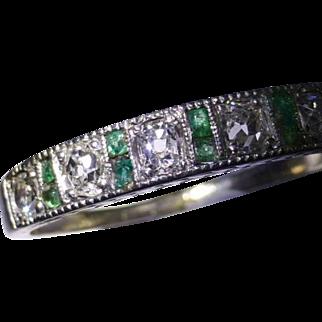 Antique Emerald & Diamond Half Eternity Ring