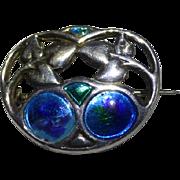 1908 Charles Horner Silver Art Nouveau Enamel  Brooch