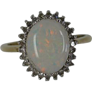 Oval Opal & Diamond Cluster ring